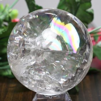 [トップクォリティ]レインボー水晶 丸玉 [直径60.6㎜] 台座付属(RainbowCrystal-tp0606is)
