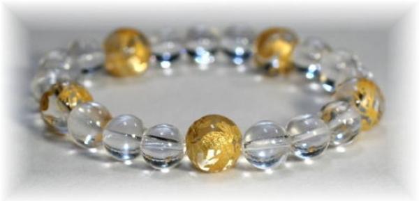 ガネッシュヒマール産ヒマラヤ水晶+五本爪龍ブレスレットの写真