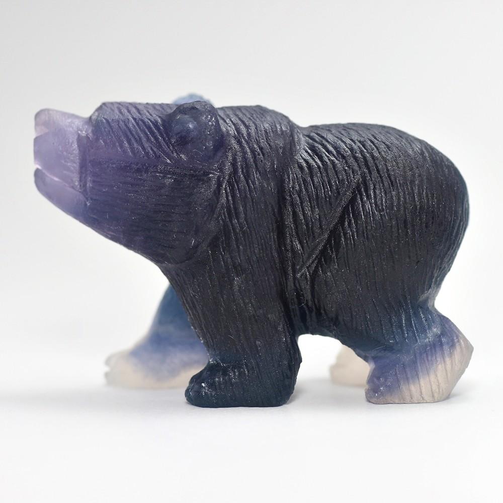 天然レインボーフローライト彫刻クマ(置物)