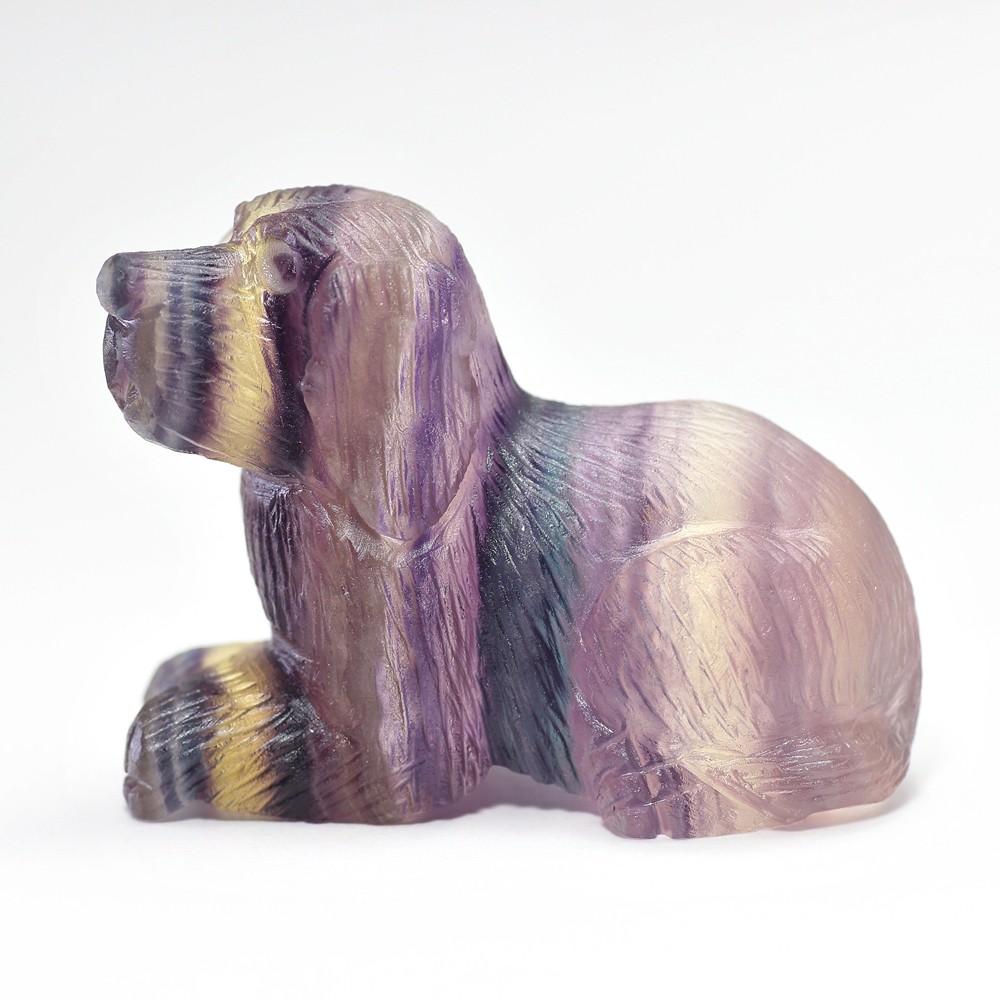 天然レインボーフローライト彫刻イヌ(置物)