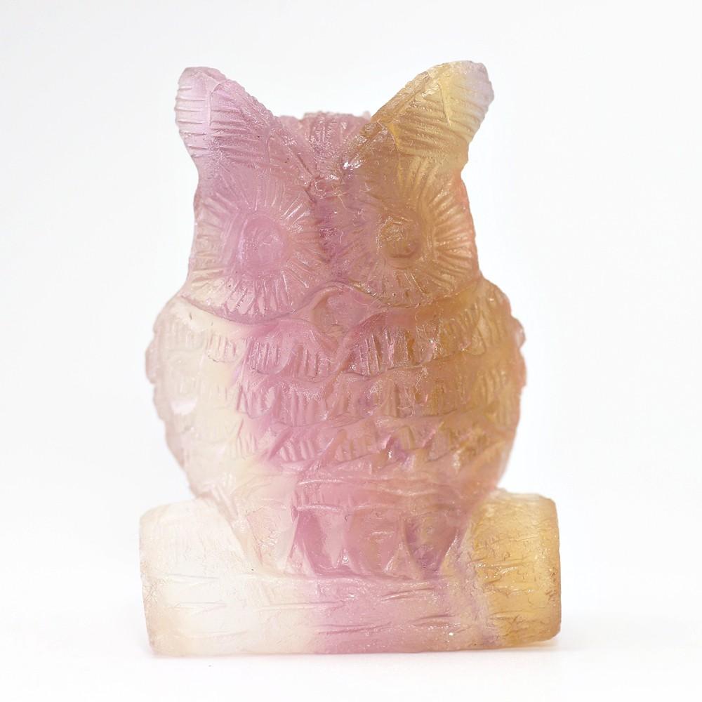 天然レインボーフローライト彫刻フクロウ(置物)