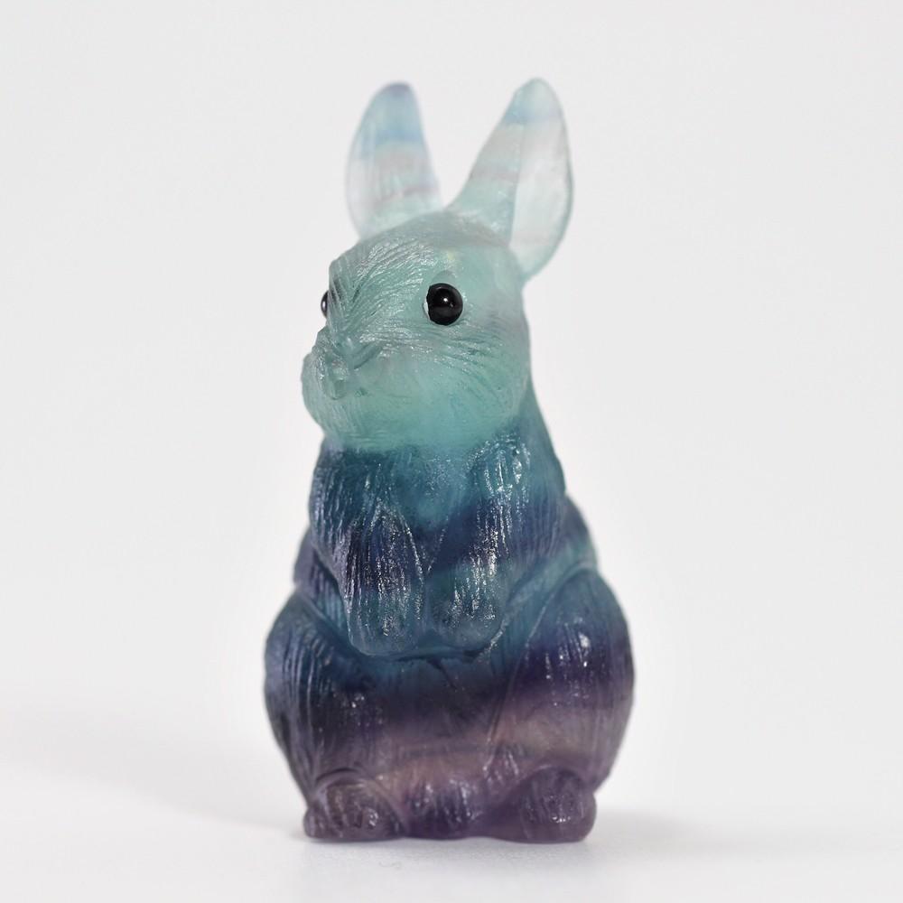 天然レインボーフローライト彫刻ウサギ(置物)