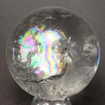 [高品質]レインボー水晶 丸玉 [直径73㎜] 台座付属(RAINBOWinQUARTZ-h0730is)