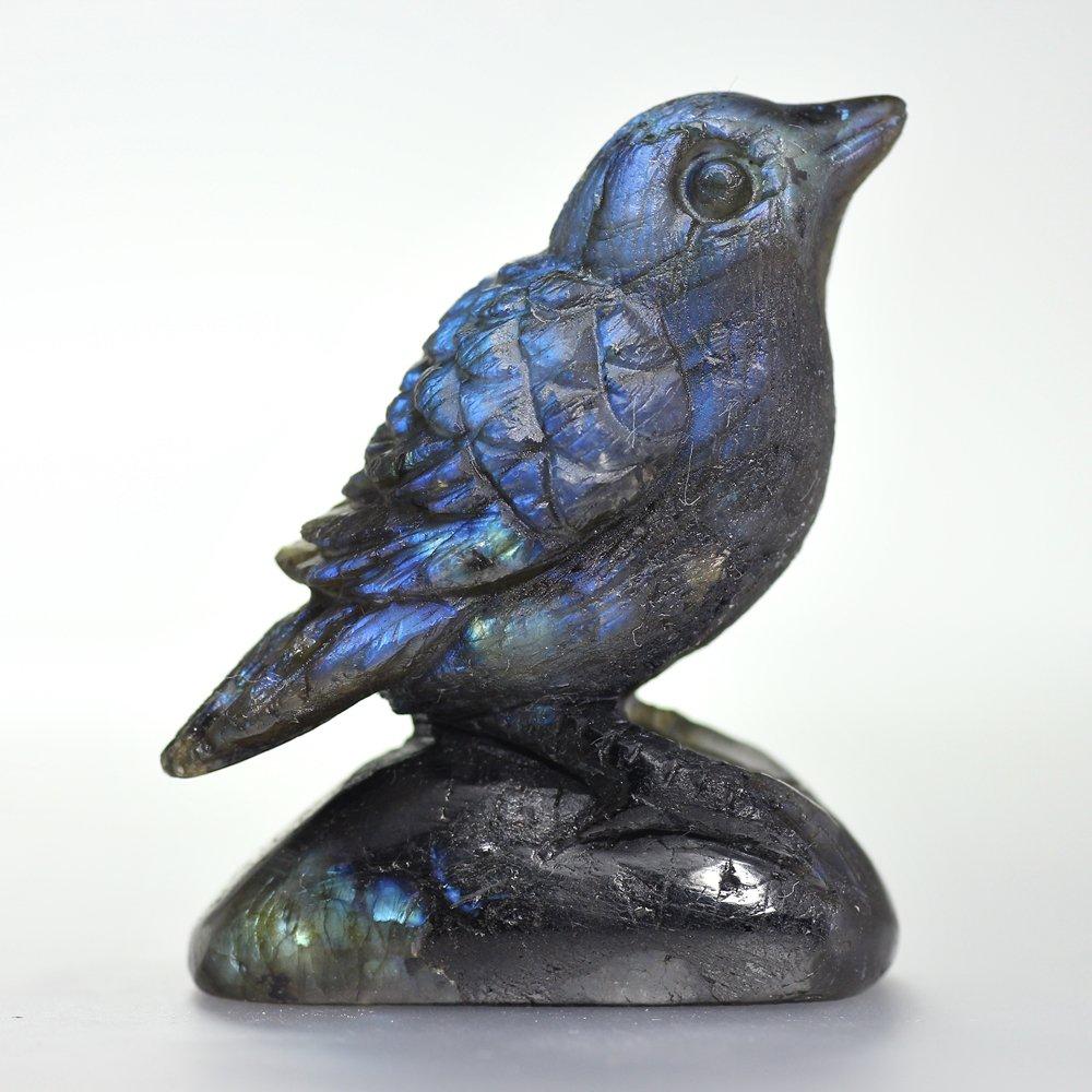 [マダガスカル産]ラブラドライト彫刻小鳥(置物)