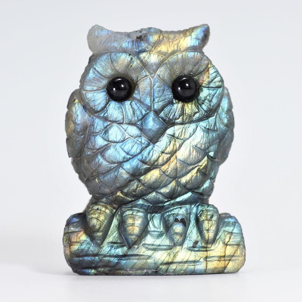 [マダガスカル産]ラブラドライト彫刻フクロウ(置物)