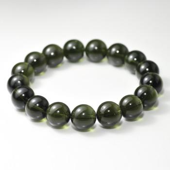 [トップクォリティ]天然モルダバイトブレスレット/若干凹みのある珠があります(約12.5mm玉・鑑別書付)