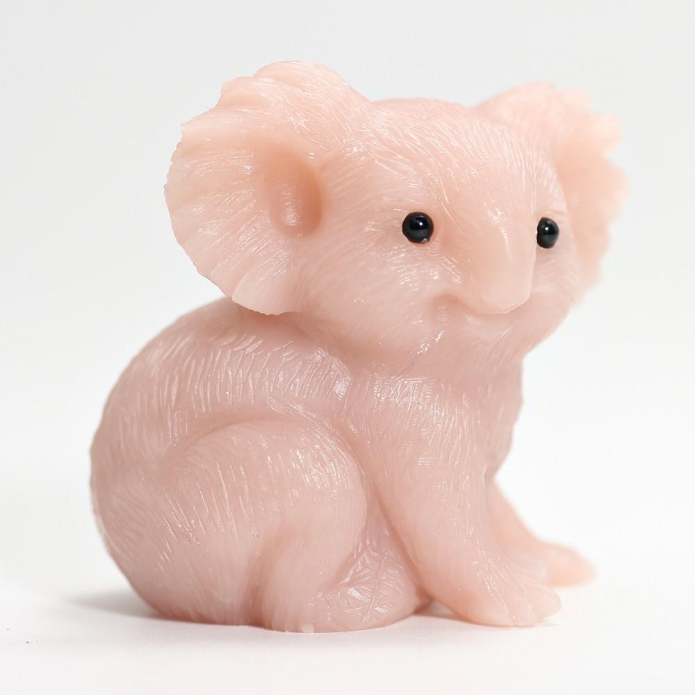 [高品質]ピンクタルク彫刻コアラ(置物)