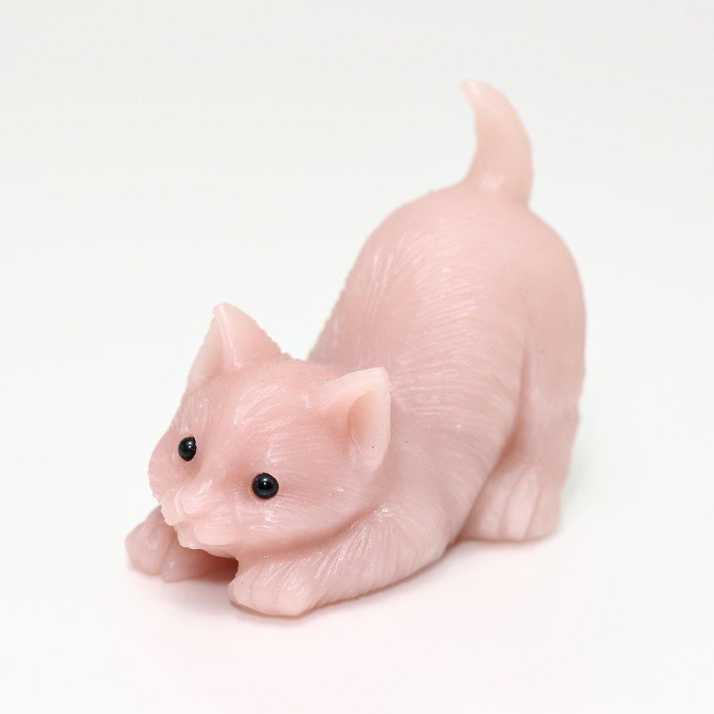 [高品質]ピンクタルク彫刻ねこ(置物)