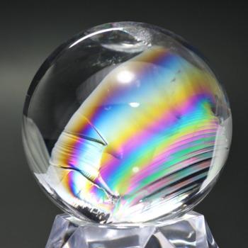 [トップクォリティ]レインボー水晶玉/アイリスクォーツスフィア(丸玉直径56.7mm)