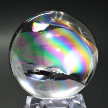 [トップクォリティ]レインボー水晶玉/アイリスクォーツスフィア(丸玉直径65.6mm)