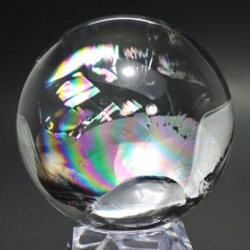 [トップクォリティ]レインボー水晶玉/アイリスクォーツスフィア(丸玉直径80.4mm)