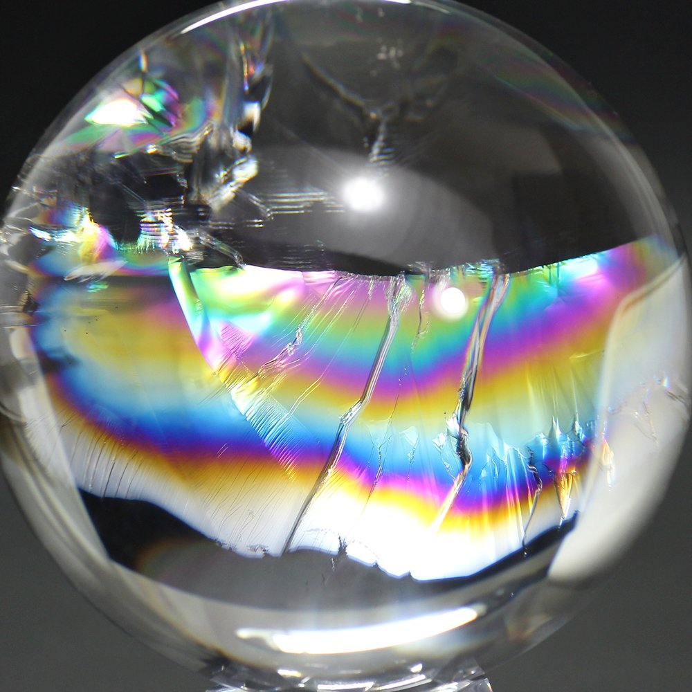[トップクォリティ]レインボー水晶玉/アイリスクォーツスフィア(丸玉直径100.6mm)
