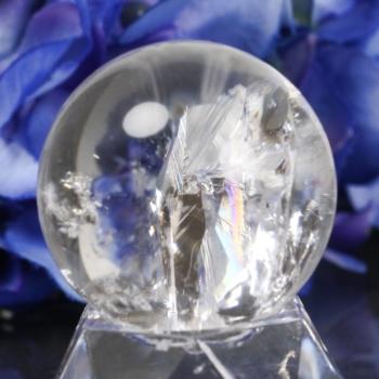 [高品質]クォーツインクォーツ レインボー水晶 丸玉(RQTZ-SPHERE0330IS)