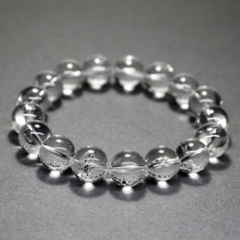 [最高品質]水入り水晶ブレスレット/グラファイト入り(約12mm玉)