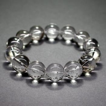 [最高品質]水入り水晶ブレスレット/グラファイト入り(約15mm玉)