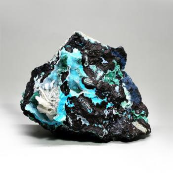 スコーピオン鉱山産クリソコーラ・マラカイト・クォーツ共生石(CHRYSOCOLLAPARAGENSIS-IS101)