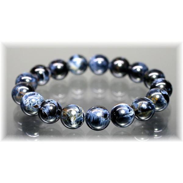 最高品質ブルー ピーターサイト 約13ミリ玉ブレスレット(CROCIDOLITEAGETE-1301IS)
