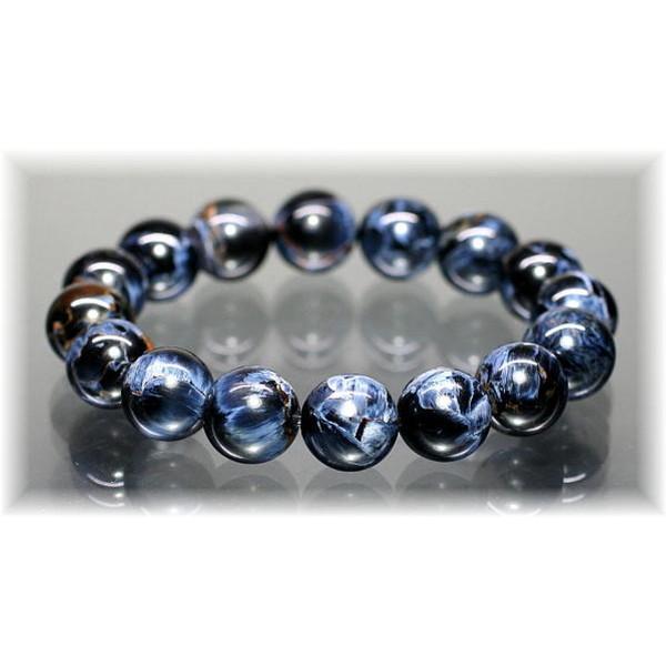 最高品質ブルー ピーターサイト 約14.5ミリ玉ブレスレット(CROCIDOLITEAGETE-1451IS)