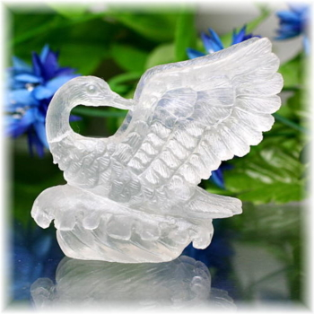 中国産フローライト彫刻品 白鳥(FLUORITE-SWAN101IS)