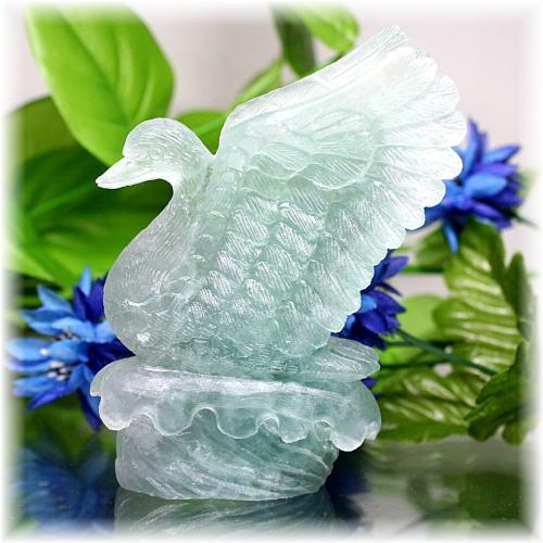 中国産フローライト彫刻品 白鳥(FLUORITE-SWAN102IS)