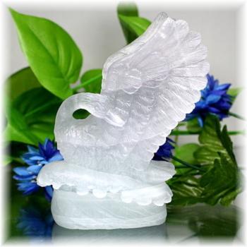 中国産フローライト彫刻品 白鳥(FLUORITE-SWAN103IS)