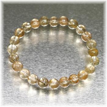 [ガネッシュヒマール産]角閃石入りヒマラヤ水晶 約7mm玉ブレスレット(GAHB-AMPE0701)