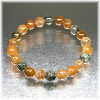[ガネッシュヒマール産]角閃石入りヒマラヤ水晶 約9ミリ玉ブレスレット(GAHB-AMPE0901)
