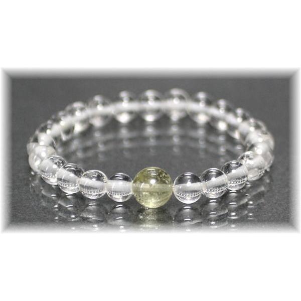 ヒマラヤ水晶+高品質リビアングラス特選1粒ブレスレット(GANEZA-ORIGINALPOINT01IS)