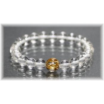 ヒマラヤ水晶+最高品質ゴールドルチルクォーツ 特選1粒ブレスレット(GANEZA-ORIGINALPOINT04IS)