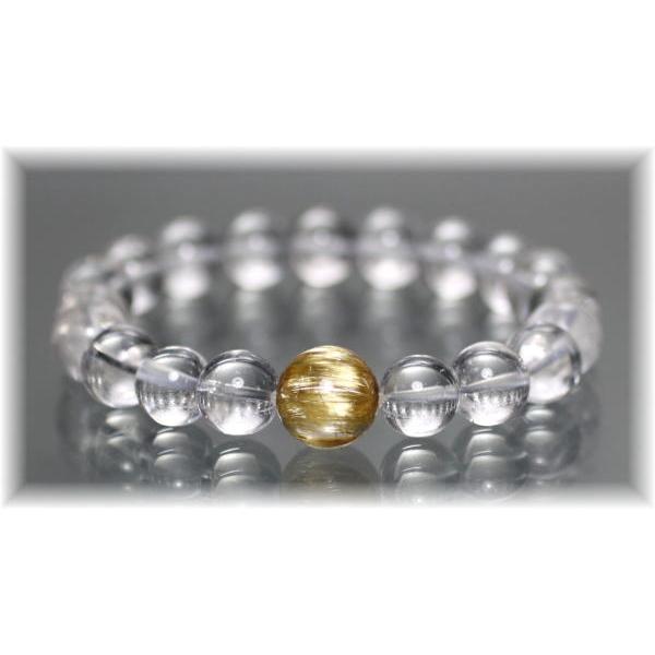 ヒマラヤ水晶+最高品質ゴールドルチルクォーツ 特選1粒ブレスレット(GANEZA-ORIGINALPOINT15IS)