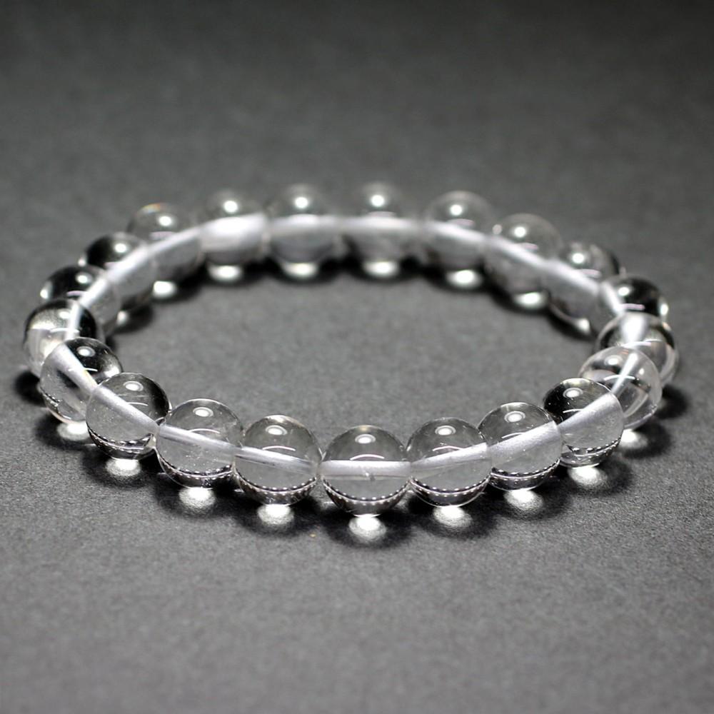 [ガネッシュヒマール産]ヒマラヤ水晶ブレスレット(約9.5mm/ネパール手磨き・高品質+)