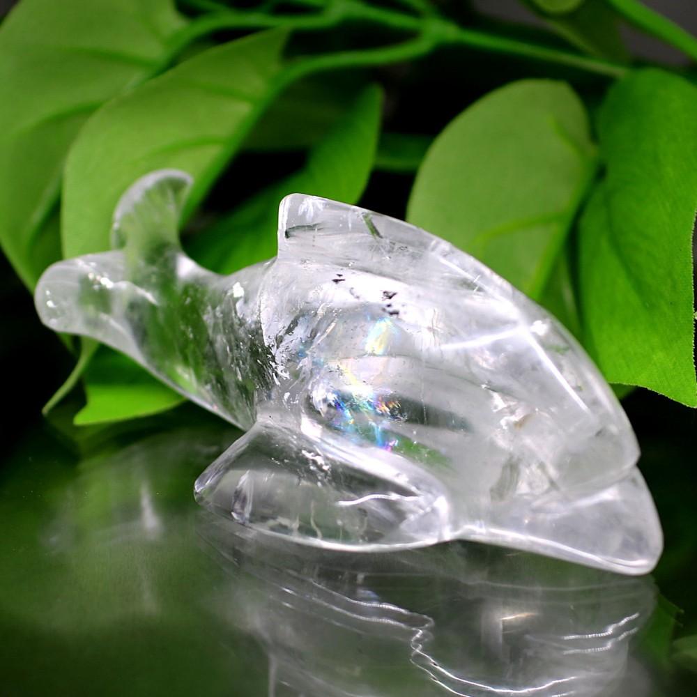 [インド産]天然ヒマラヤ水晶イルカ彫刻/アイリスクォーツ置物(全長約10.0cm)