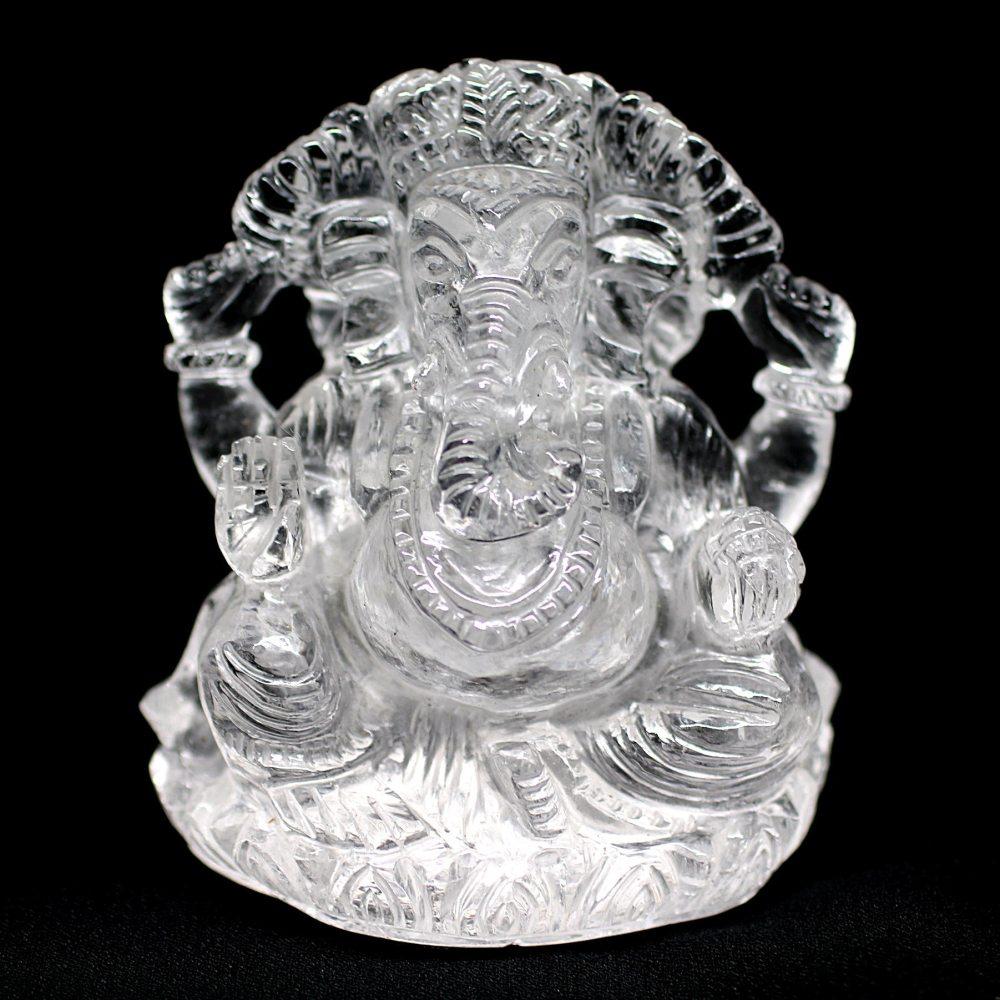 [インド産]ヒマラヤ水晶 ガネーシャ像(約8.6cm高)