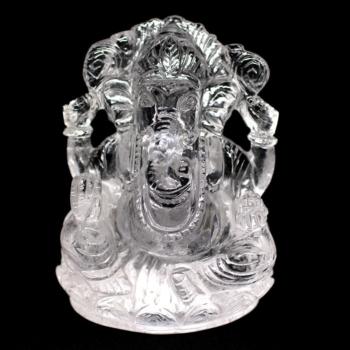 [インド産]ヒマラヤ水晶ガネーシャ像(高さ約10cm)