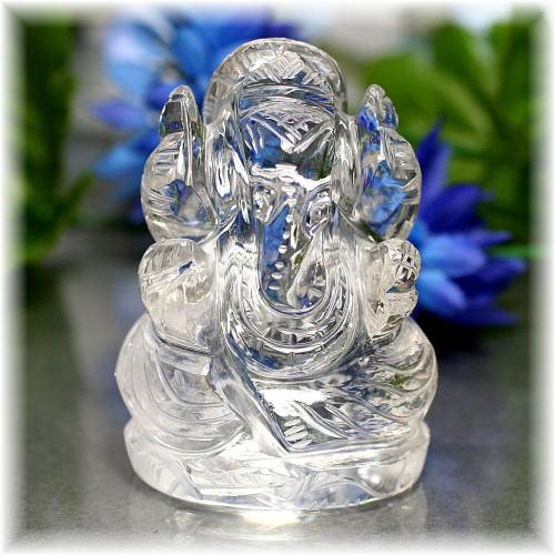 インド産ヒマラヤ水晶ガネーシャ神像(INDIA-GANEZA502IS)