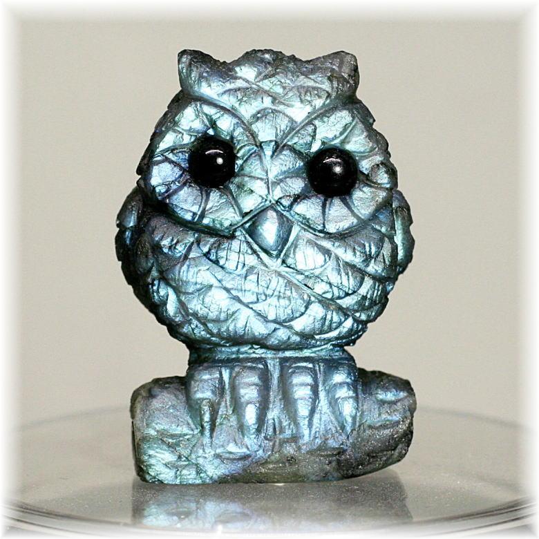 マダガスカル産ラブラドライト彫刻品/フクロウ(LABRADORITE-FUKUROU101IS)