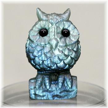 マダガスカル産ラブラドライト彫刻品/フクロウ(LABRADORITE-FUKUROU102IS)