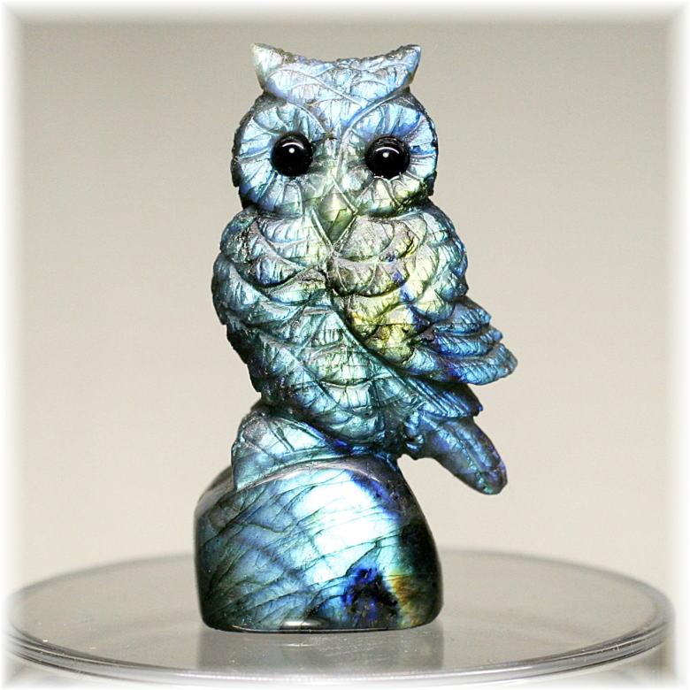 マダガスカル産ラブラドライト彫刻品/フクロウ(LABRADORITE-FUKUROU301IS)