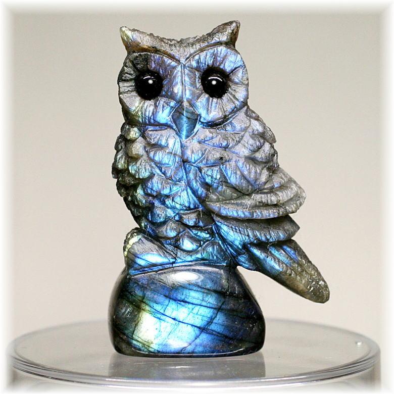 マダガスカル産ラブラドライト彫刻品/フクロウ(LABRADORITE-FUKUROU303IS)
