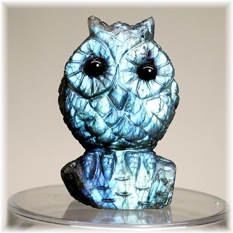 マダガスカル産ラブラドライト彫刻品/フクロウ(LABRADORITE-FUKUROU501IS)