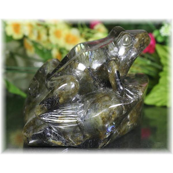マダガスカル産ラブラドライト彫刻品 カエル(LABRADORITE-KAERU1472IS)