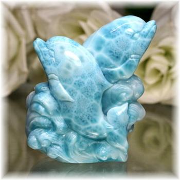 ドミニカ産ラリマー イルカ 彫刻品(LARIMAR-DOLPHIN705IS)