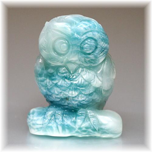 ラリマーフクロウ/不苦労 彫刻品(LARIMAR-OWL102IS)