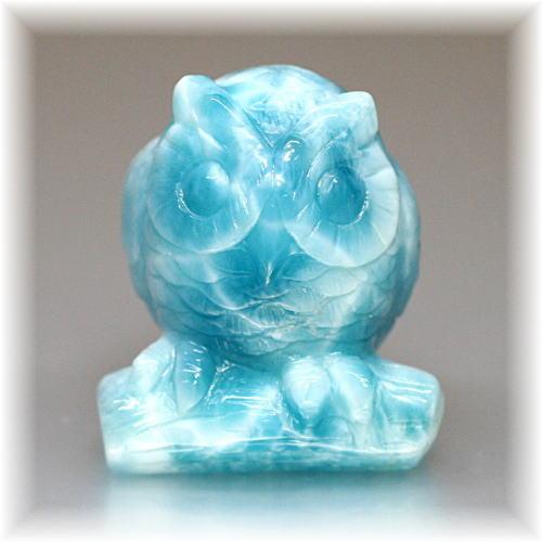 高品質ラリマー フクロウ/不苦労    彫刻品(LARIMAR-OWL103IS)