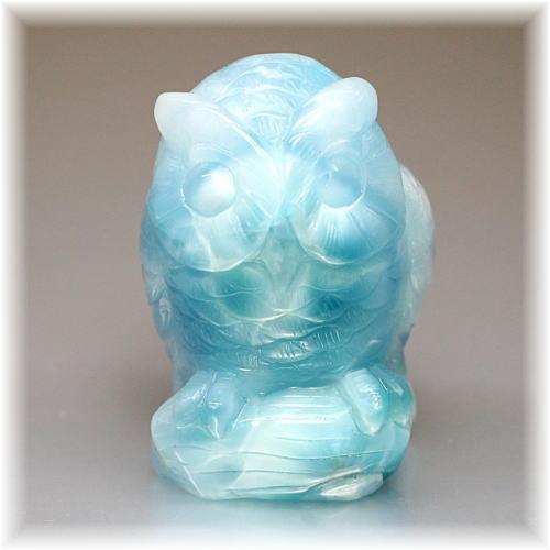 高品質ラリマー フクロウ/不苦労    彫刻品(LARIMAR-OWL104IS)
