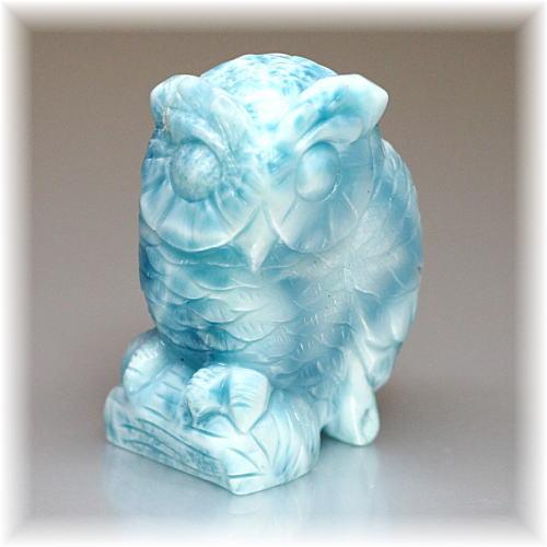 高品質ラリマー フクロウ/不苦労    彫刻品(LARIMAR-OWL105IS)