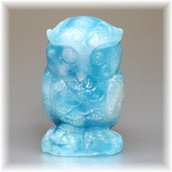 高品質ラリマー フクロウ/不苦労    彫刻品(LARIMAR-OWL108IS)