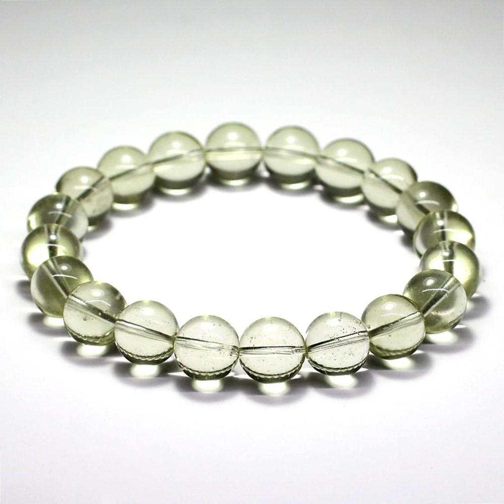 [トップクォリティ]天然リビアングラスブレスレット/ほんの僅かに欠けのある珠が混ざります(約10mm玉・鑑別書付)