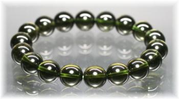 最高品質 モルダバイト約10ミリ玉ブレスレット(MOLDAVITE-PWBS1201IS)