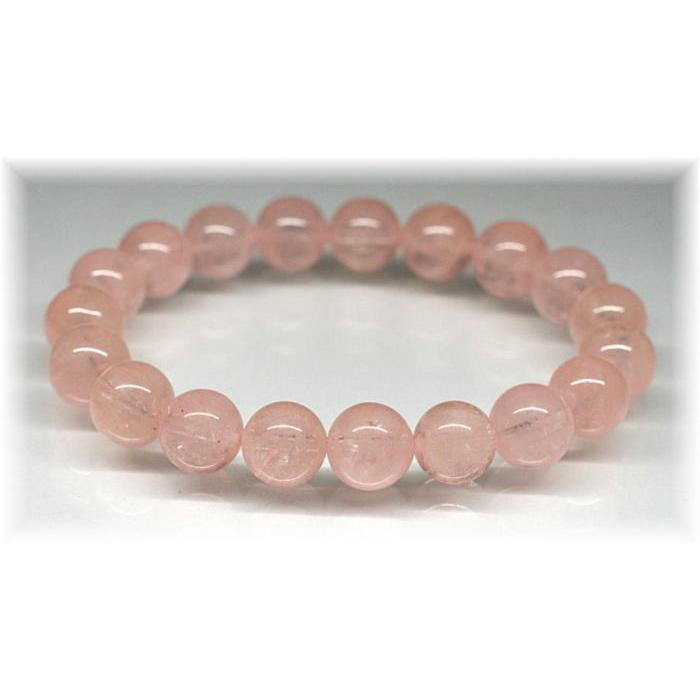 3A++ピンクオレンジモルガナイト約10ミリ玉ブレスレット(MORGANITE-PV1005IS)
